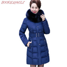 Women Winter Coats 2017 New Arrival Ladies Elegant Faxu Fur Hood Long Warm Cotton Jacket Plus size 5XL Thick Parkas Female