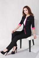 2015 Fashion Elegant Black Spring Summer Women S Business Work Wear Pants Suits Coat Pants Uniforms