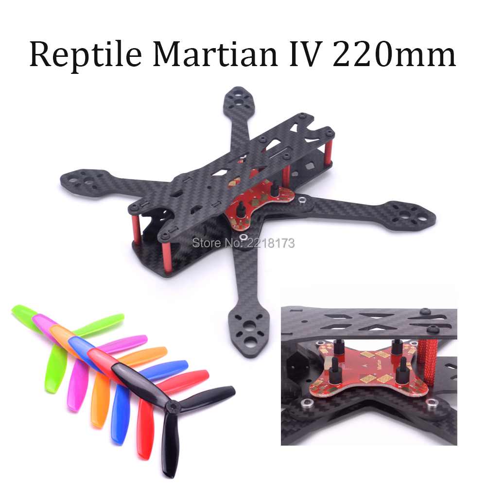 Reptile Martian II III IV 220 220mm Carbon Fiber Frame Kit with Power Distribution Board 5045 propeller For FPV Racing Drone ge fpv ge x240 monster 4 axis carbon fiber frame kit with power distribution board for quadcopter