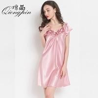Новый сексуальный шелковой ночной рубашке Lady V Средства ухода за кожей Шеи ночную рубашку Для женщин пикантные пижамы очень легкие шелковые...