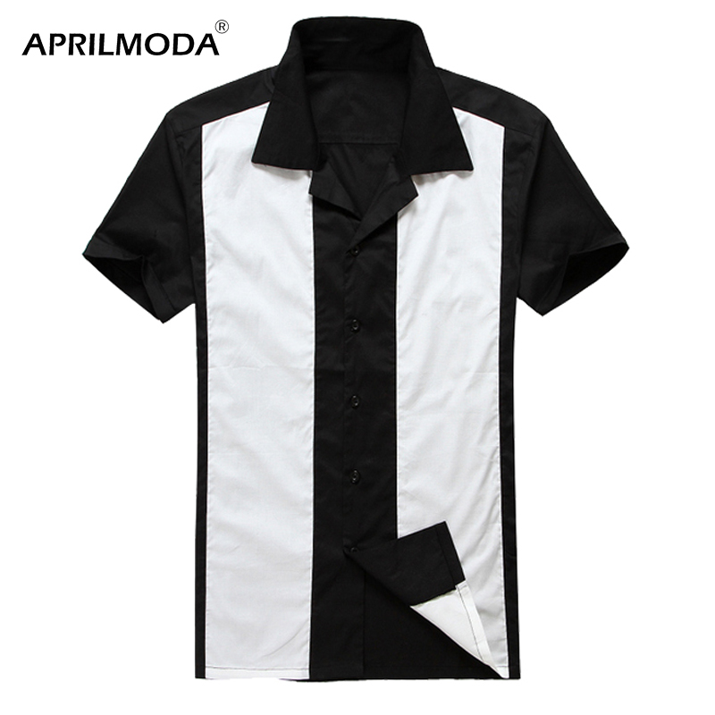 2019 Summer Slim Fit Short Sleeves Mens Casual Shirts Cotton Retro Vintage Camisa Masculina Men's Rockabilly Clothing Plus Size