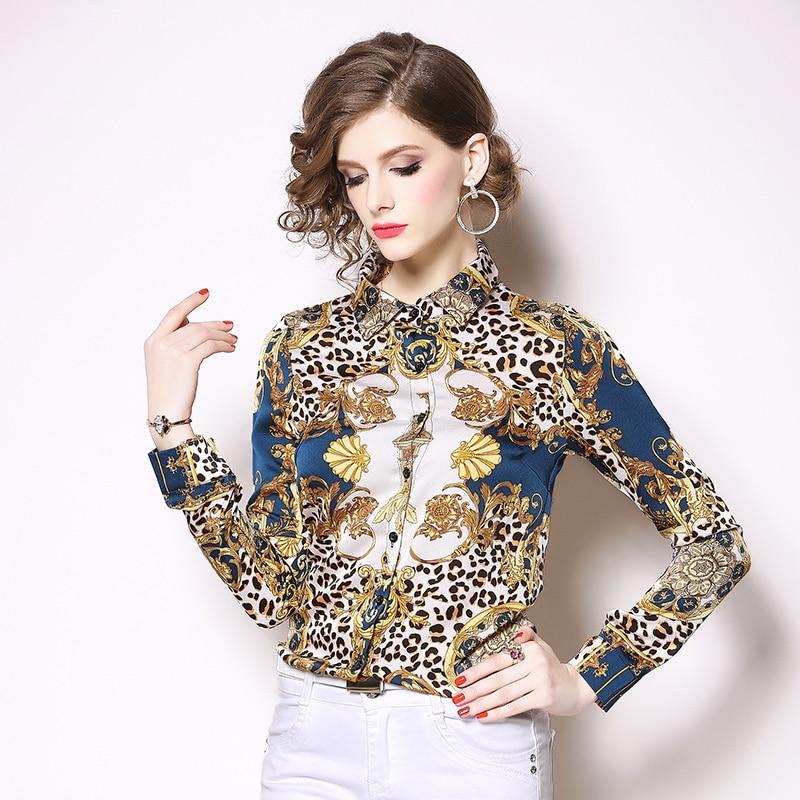 New Fashion 2019 Spring Women Blouses Long Sleeve Elegant Leopard Print Office Shirt Sexy Casual Blusas Femininas Womens Tops 4