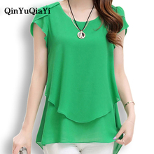 QinYuQiaYi 2017 New Summer Women Blouse Loose Shirt O-Neck Chiffon Blouse Female Short Sleeve Blouse Plus Size 5XL Shirts YF-071