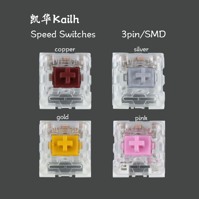 10pcs/pack original Kailh machinery SMD switch Kailh Speed switches 3 pins copper gold and silver swicthes