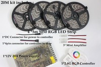 5m 10m 15m 20m RGB RGBW Led Strip Waterproof 5050 300 led 5m IP65 tape + Touch Remote Controller + 12V Power Adapter +Amplifier