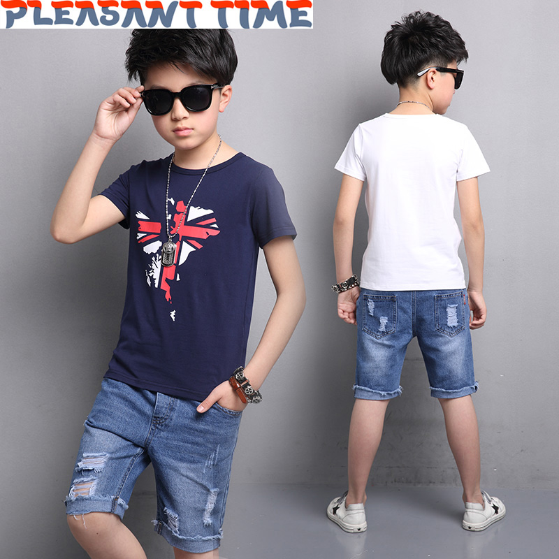 Boy short sleeve t-shirt hole denim shorts two sets boys clothes Summer Kids Cotton Round Collar Tops Jeans Fashion Casual Set brand fashion kids summer slim top mickey kid t shirt minnie mouse boys clothes shirts cotton short sleeve tee shirt