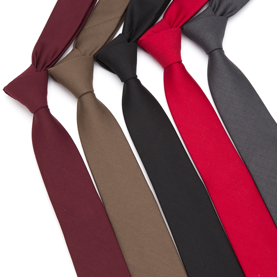 Men Skinny Tie Wool Fashion Ties For Mens Wedding Suit Business Party Slim Classic Solid Color Neck Tie Casual 6cm Red Necktie