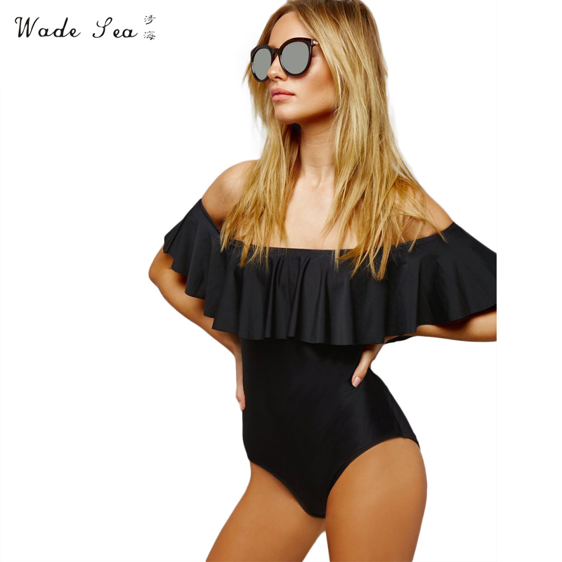 Wade Sea 2017 New Swimwear Sexy Ruffled Strapless off shoulder Solid One Piece Swimsuit Bodysuit Bathing Suit Women jenni new pink solid ruffled chemise l $39 5 dbfl