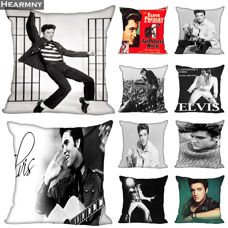 New Arrival Elvis Presley Pillow Cover Bedroom Home Office Decorative Pillowcase Square Zipper Pillow Cases Satin Soft No Fade