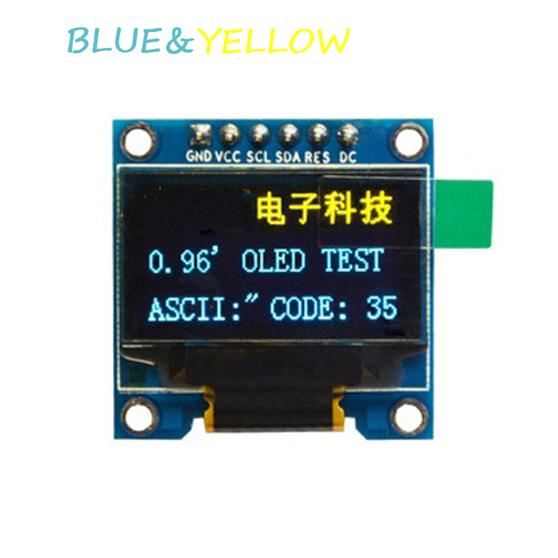 0.96 oled display module BLUE&YELLOW 12864 LED screen SPI IIC interface for arduino STM32 51 sd1306 driver NEW DIY OLED display