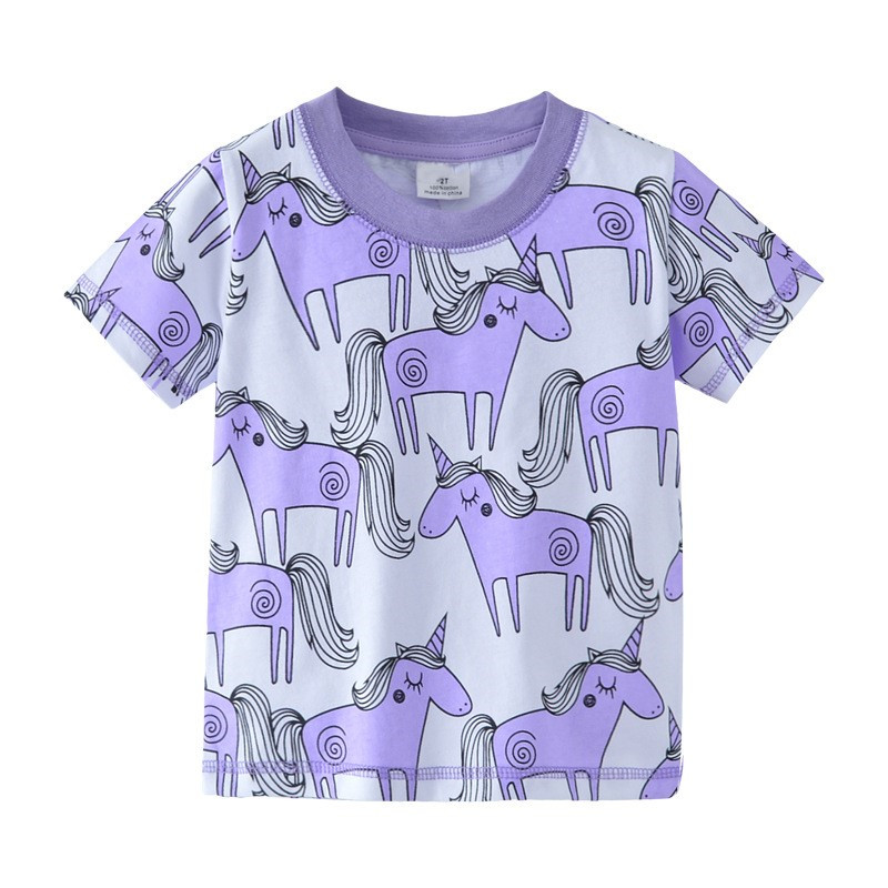 Top brand Unicorn kids T shirt baby girls short sleeve T-shirt printed animals cartoon quality tees baby girls t shirt 2-7T new hot sale 2016 korean style boy autumn and spring baby boy short sleeve t shirt children fashion tees t shirt ages