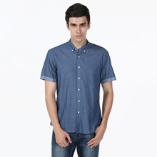 New Classic Slim Fit Solid Jean Color Cotton Casual Shirt Mens Social Dress Shirt Short Sleeve Turn Down Collar Standard US Size