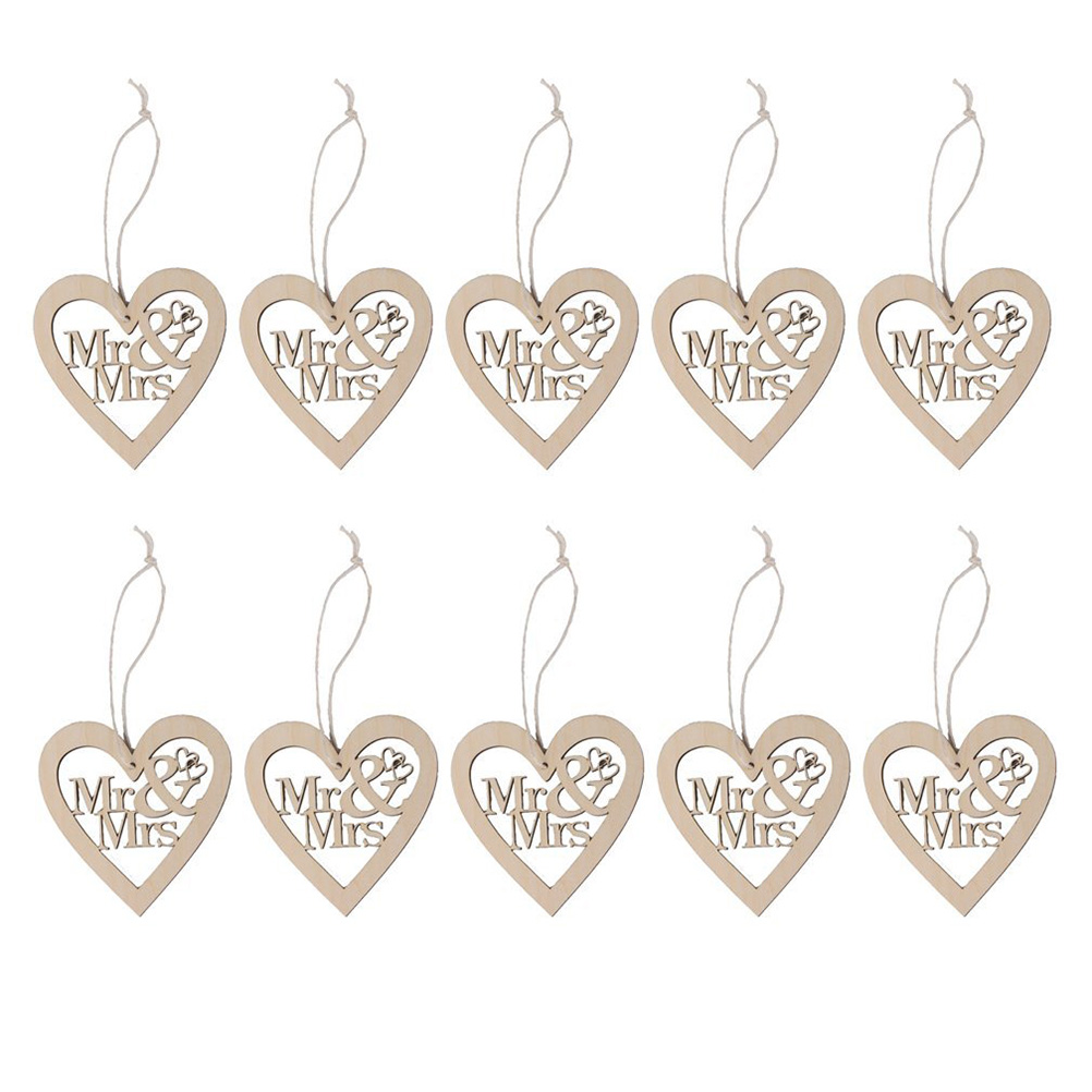 Mr and mrs christmas tree decoration - 10pcs Heart Shaped Mr And Mrs Wooden Hanging Ornament Decoration Pendants With String Wood Color