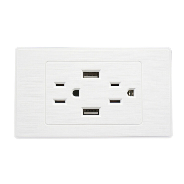 US Plug Double USB Port Dual USB Power Socket USB Wall Socket Wall ...