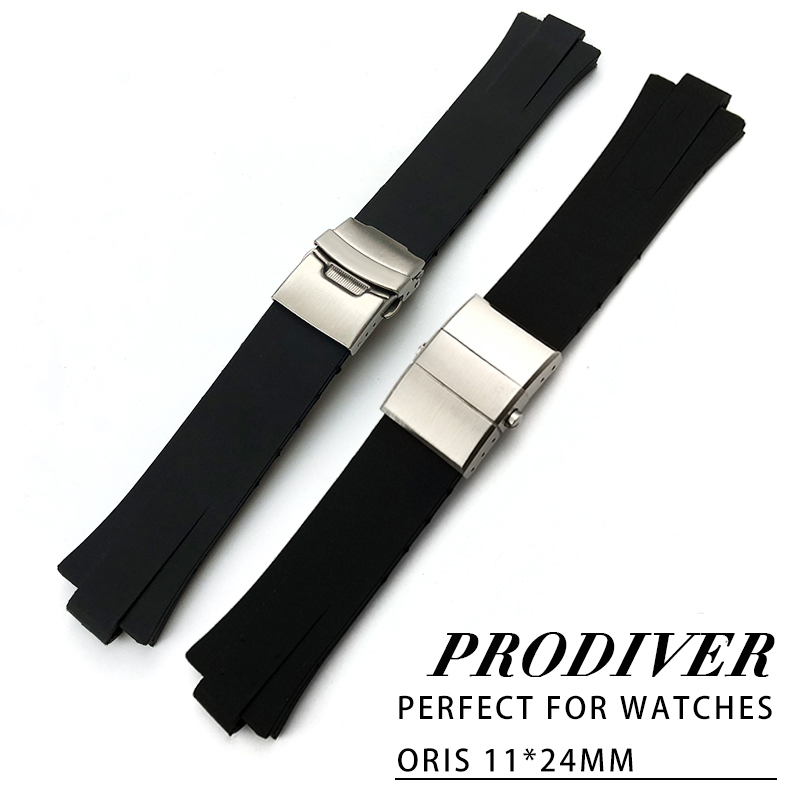 цены 24mm x 11mm Silicone Rubber Watch Strap High Quality Waterproof Watch Belt Suitable for Oris Wrist Watch Accessories for men