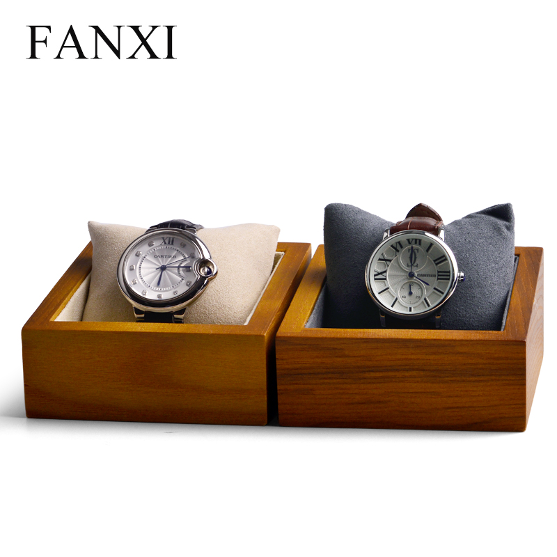 FANXI Solid Wood Cream-white&Dark Gray Watch Box Bracelet Display Holder With Pillow For Bangle Exhibition Bracelet Display Prop