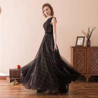2018 New Arrival Hot Vintage A Line Bridesmaid Dresses Floor Length Black Lace Applique Custom Made Sleeveless Bridesmaid Gowns