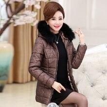 В пожилых женщин зимой вниз куртки хлопка большой размер полупальто толще зимняя куртка