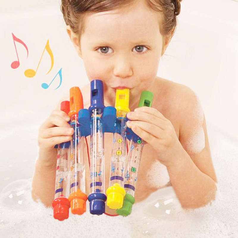 5Pcs/Set Bath Toys Colorful Water Toys Plastic Flute Bath Tub Tunes Toy Fun Music Sounds Toys for Bathroom for Children longing for toys