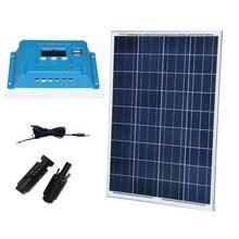 все цены на Solar Panel Set 100W 12V Solar Kit Solar Battery Price Solar Charge Controller 10A 12/24V PV Cable MC4 Solar Home System Camp  онлайн