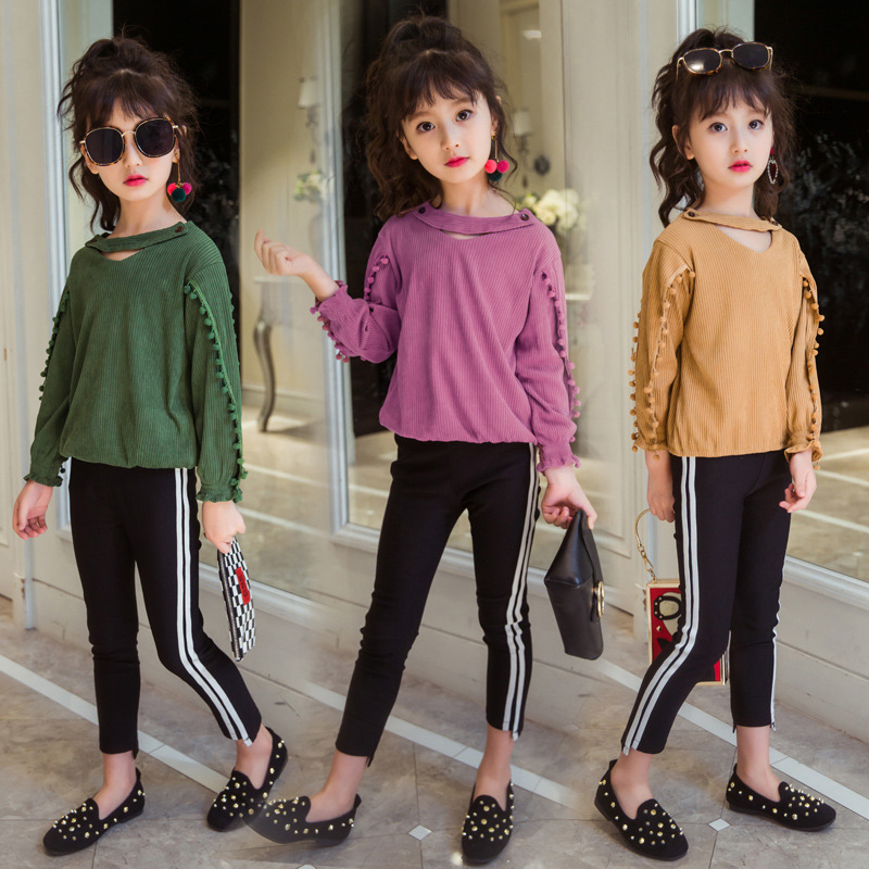 New Children Clothes Suit 2017 Autumn Winter Girls Clothes Set T-shirt+pants 2pcs Kids Girls Sport Suit Teenage Girl Clothing цена