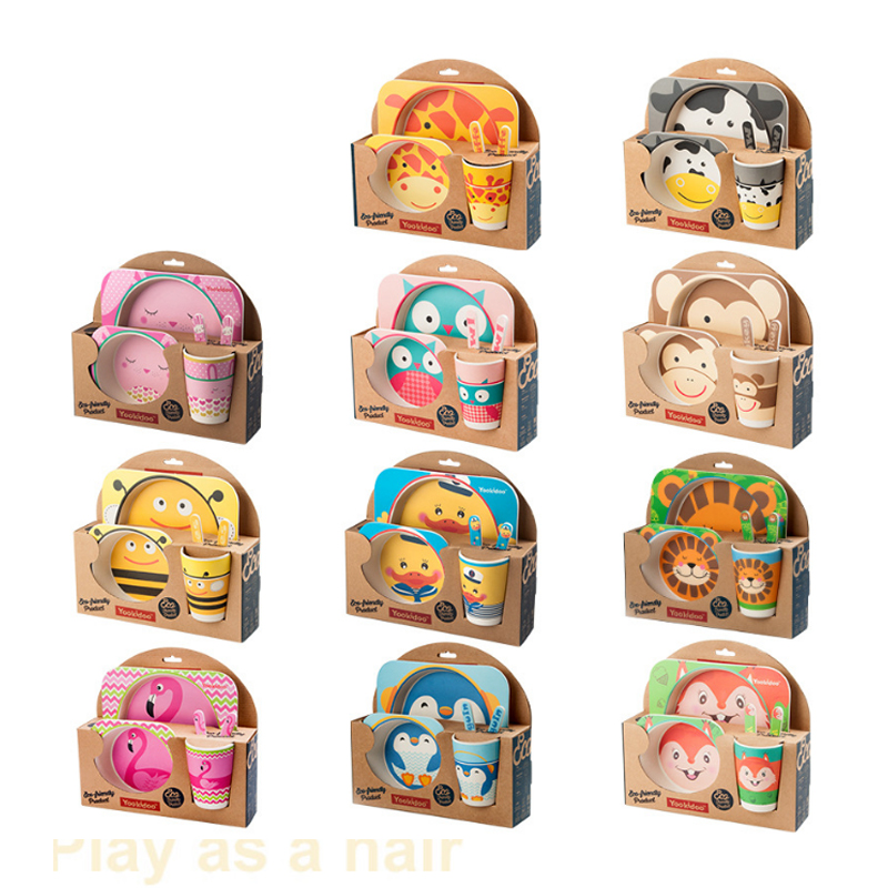 5 pièces D'animal de Bande Dessinée Pour Enfants En Fiber De Bambou Couverts Bébé Vert Fourchette de Table Tasse Bol Bande Dessinée Vaisselle
