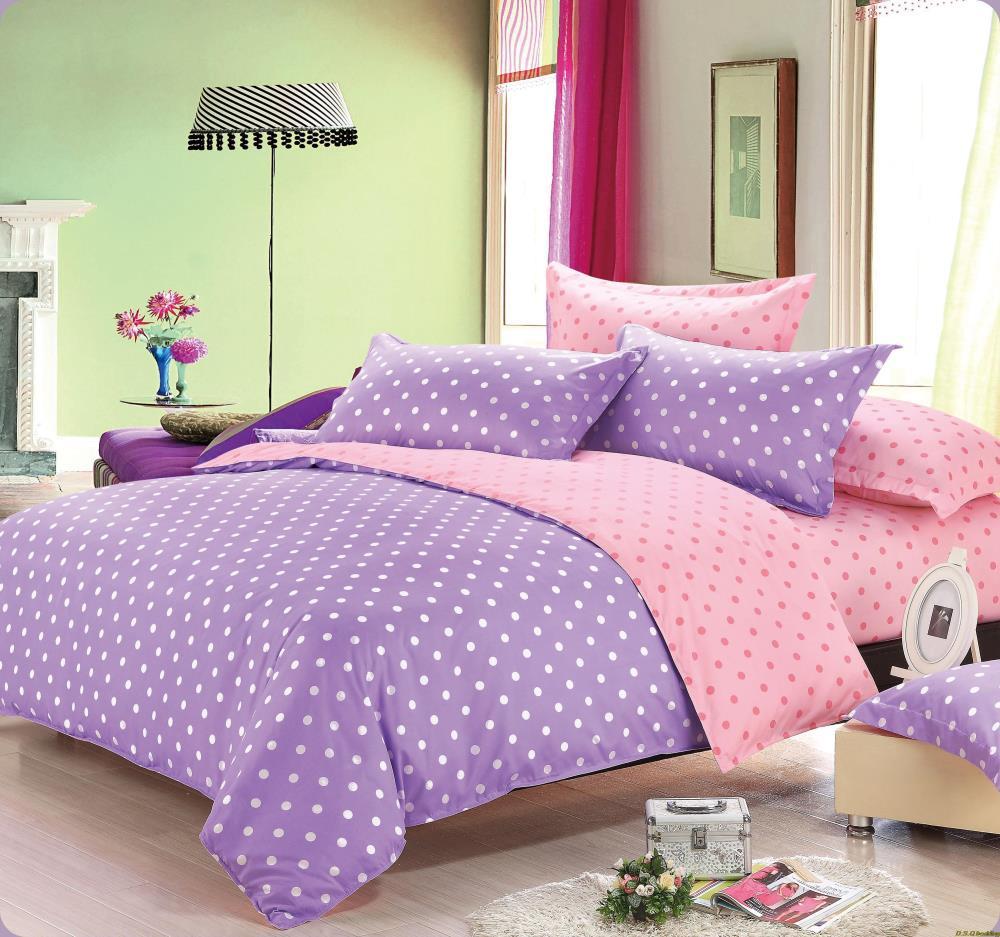 4pcs Adultkids Purple Pink Dot Bedding Set Kingqueenfulltwin
