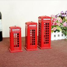 European Retro London Metal Telephone Booth Piggy Bank Creative Architectural Model Decoration 13/15/18cm Home Crafts