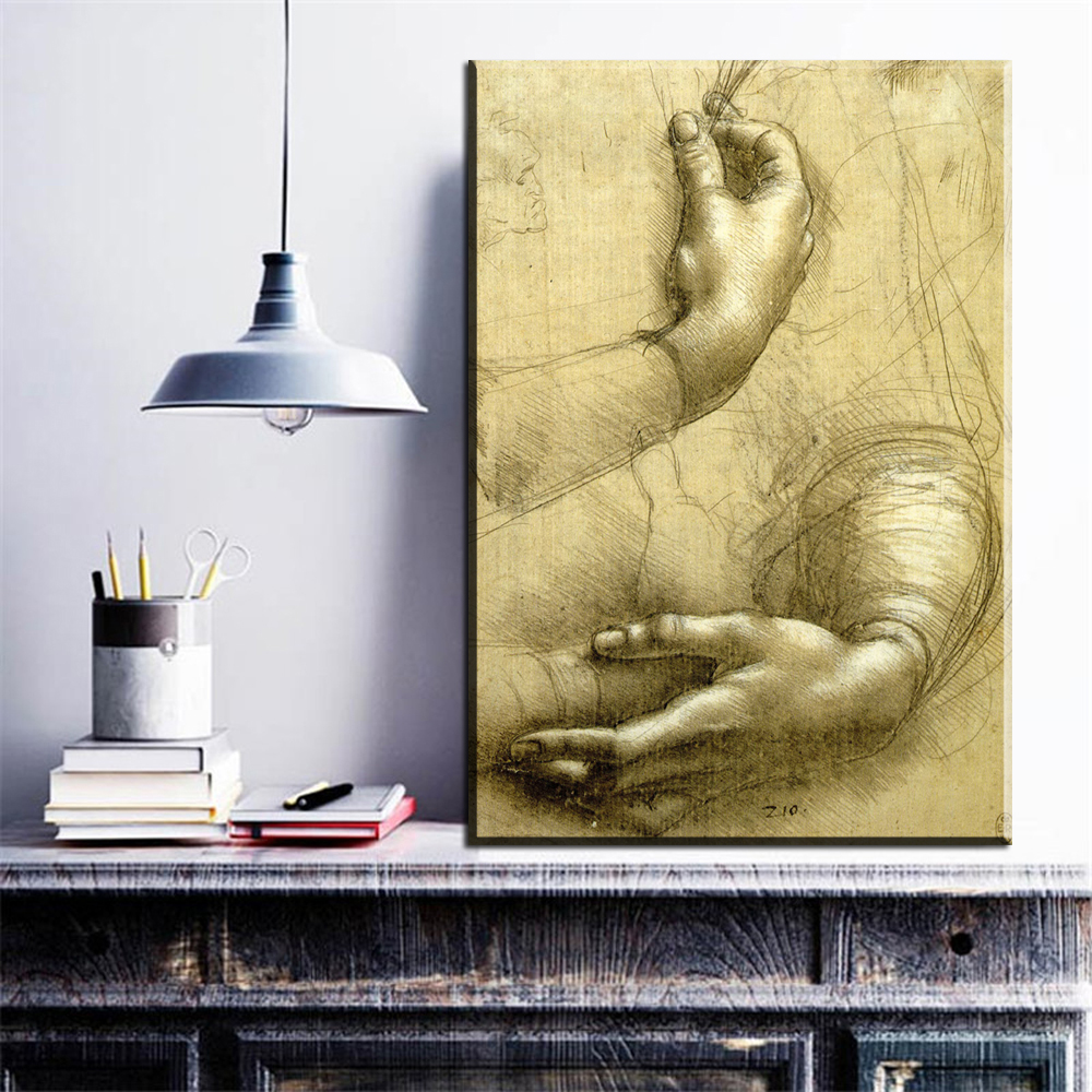 Online Shop ZZ783 Wall hangings painting Study-Of-Hands by Leonardo ...