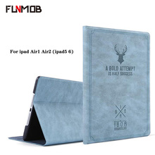 For ipad  Case Deer Pattern PU Leather cover for apple ipad air1 air2 Cases Smart Cover Stand for ipad 5 iapd 6 A1566 A1567 A147