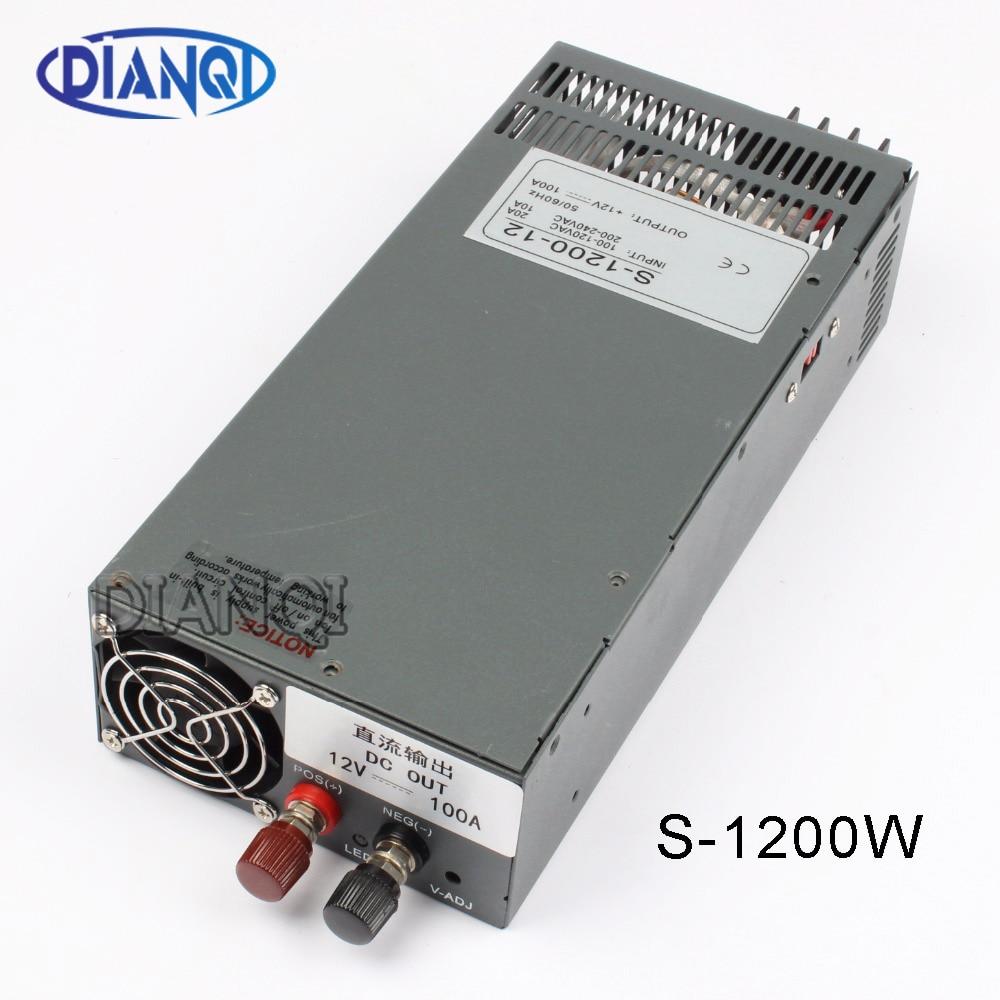 1200 W 12 V 100A alimentation à découpage pour LED bande lumière AC à DC alimentation alimentation entrée 110 v 220 v 1200 w S-1200-12 72 V 48 V 72 V 72 V 24 V