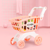 1 set Kids Mini Simulation Shopping Mall Supermarket Cart Trolley Toy Pretend Play House Handcart Puzzle Play Toy Set