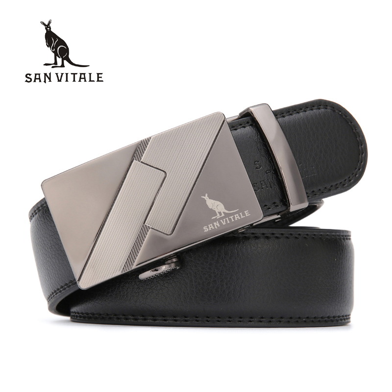 SAN VITALE New Cow Split Genuine Leather Men Belts Luxury Automatic Strap Belt for Men Brand Designer Luxury Business Man Jeans
