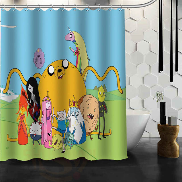 Custom Adventure Time Shower Curtain Bathroom Products Creative Polyester Home Product