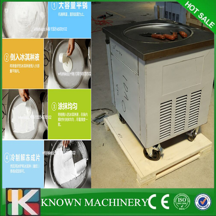 Factory Supply With Temperature Control 110v/220v 60Hz Flat Single Round Pan Fried Ice Cream Machine