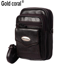 GOLD CORAL Genuine Leather Small Bags Men Leather Belt Waist Pack Messenger Bags Phone Pouch Fanny Pack Male Crossbody Bag