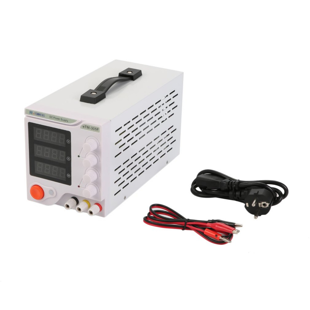 Four Digit Display Professional 0-30V 0-5A DC Power Supply Device For Workshops Laboratory eTM-305F EU Plug ship from de four digit display professional 0 30v 0 5a dc power supply device for workshops laboratory etm 305f eu plug