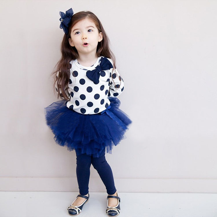 Children 's autumn paragraph new rounds of points Puff skirt suit girl' s cotton T - shirt + girls pants 2 3 4 5 6 7 years old