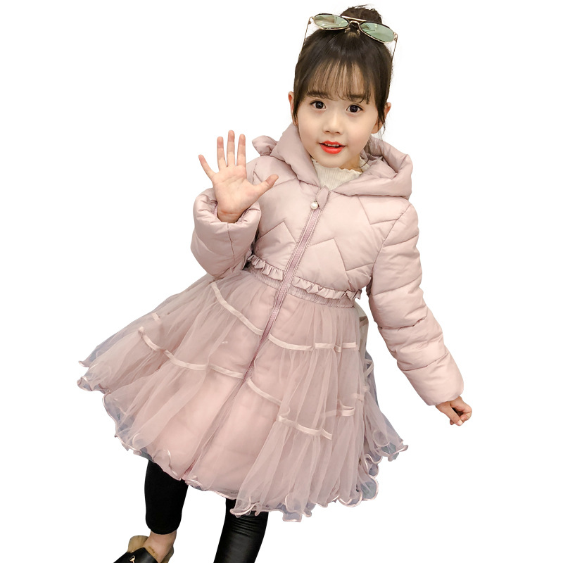 Girl winter fashion long cold-resistant cotton jacket Girl western lace decorative warm jacket Girl solid color jacket Girl winter fashion long cold-resistant cotton jacket Girl western lace decorative warm jacket Girl solid color jacket