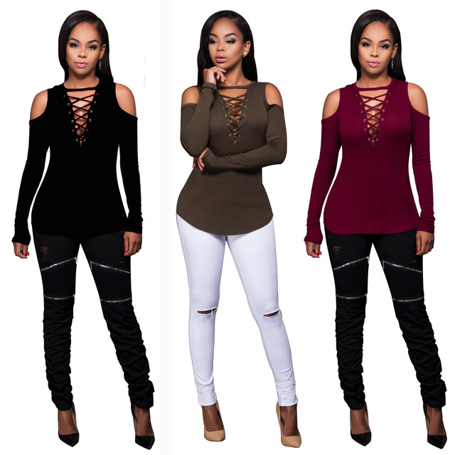 2017 Women Sexy Tops Bust off the shoulder bandage  T-shirts Fashion bandage autumn winter Full Sleeve Casual shirt MC5213