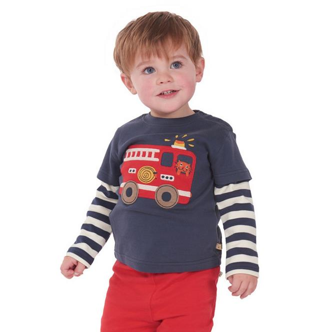 2017 new spring autumn baby boys t shirts Fireman T shirt Firetruck cartoon casual children kids long sleeve t shirts