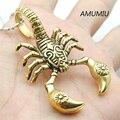 AMUMIU Cor do Ouro Escorpião Pingentes Colares Colar de Aço Inoxidável Homens Jóias Escorpiões escorpião Animal Insect Pingente HP002