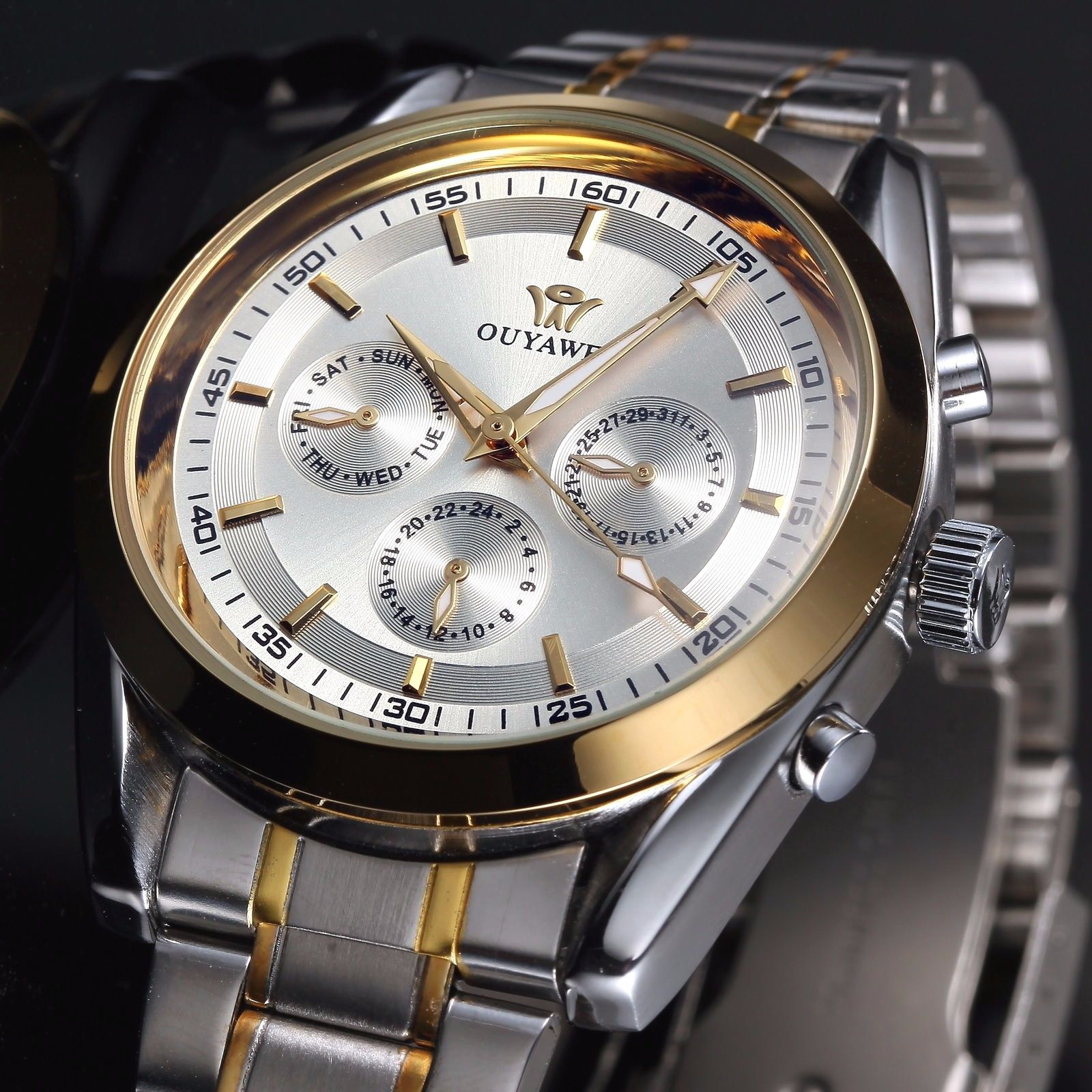 ФОТО Analog Watch for Men Clock New Mechanical Automatic Watch Montre Pour Homme de Marques Date  Stainless Steel Band Wrist Watch