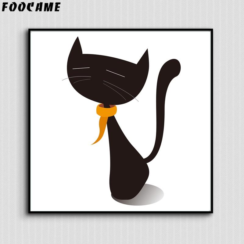 FOOCAME Cartoon Animal Μινιμαλιστική γάτα - Διακόσμηση σπιτιού - Φωτογραφία 4