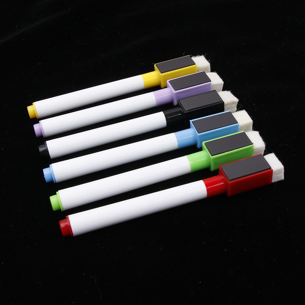 6PCS/Set Whiteboard Pen Erasable Dry White Board Markers Magnet Built-in Eraser Office School Writing Supplies