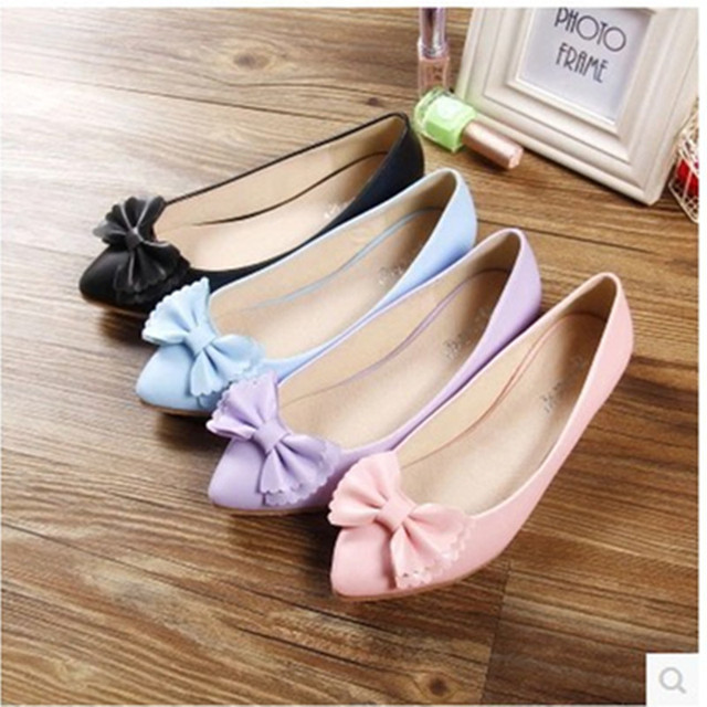Ladies Bowtie sweet comfortable big size(4 ot 12) leisure pointed toe flattie thin shoes dancing shoes in spring summer 4colors