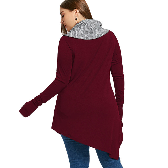 Plus Size Thumb Hole Asymmetrical Sweatshirts Tops Autumn Winter Elegant Basic Hoodies Pullovers 5XL
