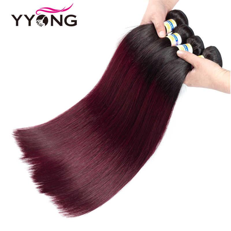"""Yyong предварительно цветные 1B/99J бразильские прямые пучки волос """"омбре"""" с закрытием бордовые, человеческие волосы 4 комплект накладных прядей с закрытием"""