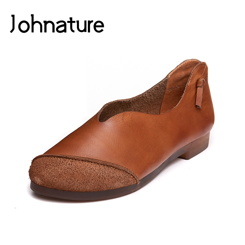 Johnature Genuine Leather Hand Made Women Flat 2019 New Spring Autumn Round Toe Casual Shallow Retro