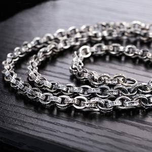 Image 4 - ZABRA Buddhism Mantra Signet 925 Sterling Silver Necklace Men Width 5mm 50/55/60/65/70cm Long Box Chain Biker Jewellery